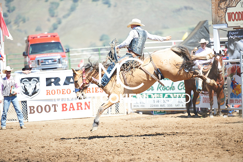 Saddle bronc rider Nick LaDuke of Livermore, CA rides Bucky's Sam at the Woodlake Lions Rodeo.<br /> <br /> <br /> UNEDITED LOW-RES PREVIEW<br /> <br /> <br /> File shown may be an unedited low resolution version used as a proof only. All prints are 100% guaranteed for quality. Sizes 8x10+ come with a version for personal social media. I am currently not selling downloads for commercial/brand use.