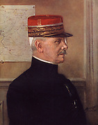General Michel-Joseph Maunoury (1847-1923) French artillery officer. Recalled from retirement in August 1914 at the beginning of the First World War. Maunoury in July 1915. In March he had been badly wounded and shot through they eye, ending his active career.