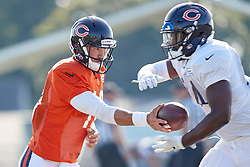 July 28, 2018 - Bourbonnais, IL, U.S. - BOURBONNAIS, IL - JULY 28: Chicago Bears quarterback Mitchell Trubisky (10) and Chicago Bears running back Jordan Howard (24) participate in drills during the Chicago Bears training camp on July 28, 2018 at Olivet Nazarene University in Bourbonnais, Illinois. (Photo by Robin Alam/Icon Sportswire) (Credit Image: © Robin Alam/Icon SMI via ZUMA Press)