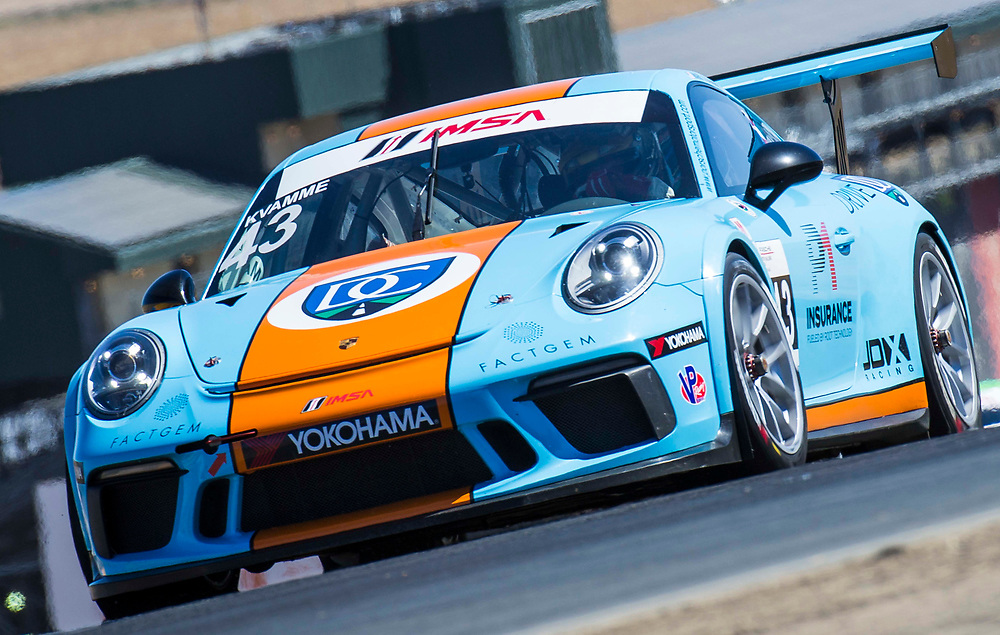 SEPT 15, 2018 Sonoma, CA, U.S.A :# 43 Mark Kvamme coming out of then 3 during the GoPro Grand Prix of Sonoma Porsche GT3 Race 1 at Sonoma Raceway Sonoma, CA  Thurman James