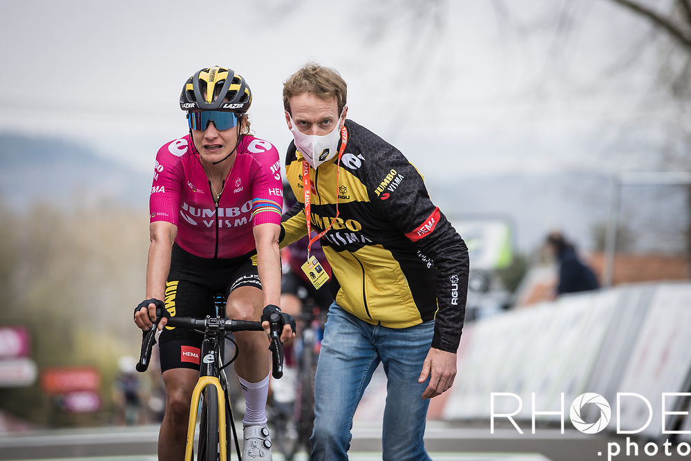 Marianne Vos (NED/Jumbo-Visma) exhausted after finishing <br /> <br /> 24th la Flèche Wallonne Féminin 2021 (1.UWT)<br /> 1 Day Race: Huy – Huy 130,5km<br /> <br /> ©RhodePhoto