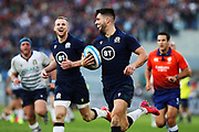Adam Hastings of Scotland (C) scoring during the Guinness Six Nations 2020, rugby union match between Italy and Scotland, Saturday Feb. 22, 2020,in Rome, Italy. (Federico Proietti/ESPA-Images-Image of Sport)