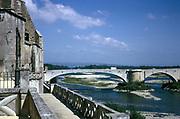 Bridge over River Rhone at Pont-Saint-Esprit, Gard, France 1974