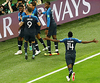 SAINT PETERSBURG, RUSSIA - JULY 10: Samuel Umtiti (L) of France national team celebrates his goal with teammates during the 2018 FIFA World Cup Russia Semi Final match between France and Belgium at Saint Petersburg Stadium on July 10, 2018 in Saint Petersburg, Russia. MB Media