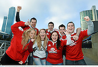 29 June 2013; British & Irish Lions supporters, back row, from left, Ronan Rogers, from Prosperous, Co. Kildare, Simon McMahon and Stephen Wrigley, from Cabinteely, Dublin, Andrew Brennan, Ardee, Co. Louth, with, front row, Dearbhla Lynn, from Greystones, Co. Wicklow, Aisling Leonard, from  Stabannan, Co. Louth, and Ciara Gorman, form Dundrum, Dublin, on The Yarra Promenade ahead of the game. British & Irish Lions Tour 2013, 2nd Test, Australia v British & Irish Lions. Melbourne, Australia. Picture credit: Stephen McCarthy / SPORTSFILE