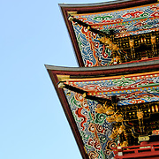 The Three Storied Pagoda, standing 25 meters tall, was originally built in 1712. It is ornately decorated with brightly painted rafters, carved dragons, and sculptures of 16 RAKAN or Buddha's disciples how attained Nirvana. On the first floor's inner sanctum is GOCHI-NYORAI (Five Tathagas) who is believed to be endowed with the five wisdoms of Buddha. The Narita-san temple, also known as Shinsho-Ji (New Victory Temple), is Shingon Buddhist temple complex, was first established 940 in the Japanese city of Narita, east of Tokyo.