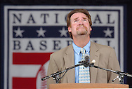 Cooperstown, NY. 7/31/2005--COOPERSTOWN 01-- Wade Boggs takes a moment while speaking of his mother in front of the estimated 28,000 people in attendance during his 2005 National Baseball Hall of Fame Induction Ceremony at the Clark Sports Center Sunday, July 31, 2005 in Cooperstown, New York. Wade Boggs and Ryne Sandberg are part of the 62nd Hall of Fame election.  PHOTOS 4 OF IMAGES STAFF MICHAEL SPOONEYBARGER