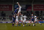 London Irish flanker Seán O'Brien catches a line out during a Gallagher Premiership Rugby Union match, won by Sharks 39-0, Friday, Mar. 6, 2020, in Eccles, United Kingdom. (Steve Flynn/Image of Sport)