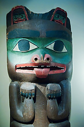 detail of Grizzly Bear poles of the Haida from Masset village in Canada at Ethnological Museum in Dahlem in Berlin Germany
