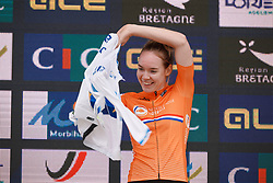 Anna van der Breggen (NED) dons her new jersey at the 2020 UEC Road European Championships - Elite Women ITT, a 25.6 km individual time trial in Plouay, France on August 24, 2020. Photo by Sean Robinson/velofocus.com