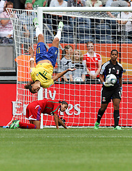 06.07.2011, Commerzbank-Arena, Frankfurt, GER, FIFA Women Worldcup 2011, Gruppe D, Äquatorial-Guinea (EQG) vs. Brasilien (BRA) ,. im Bild Salto / Torjubel Cristiane (BRA) nach dem 0:2 . // during the FIFA Women´s Worldcup 2011, Pool D, Equatorial Guinea vs Brazil on 2011/07/06, Commerzbank-Arena, Frankfurt, Germany. EXPA Pictures © 2011, PhotoCredit: EXPA/ nph/  Karina Hessland       ****** out of GER / CRO  / BEL ******