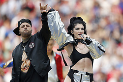 Nicky Jam  and Era Istrefi perform at the closing ceremony prior during the 2018 FIFA World Cup Russia Final match between France and Croatia at the Luzhniki Stadium on July 15, 2018 in Moscow, Russia