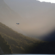 A plane flies over Milford Sound, South Island, New Zealand.. Milford Sound (Piopiotahi in Ma¯ori) is a fjord in the south west of New Zealand's South Island, within Fiordland National Park and the Te Wahipounamu World Heritage site. It has been judged the world's top travel destination and is acclaimed as New Zealand's most famous tourist destination..Milford Sound runs 15 kilometres inland from the Tasman Sea at Dale Point - the mouth of the fiord - and is surrounded by sheer rock faces that rise 1,200 metres (3,900 ft) or more on either side. Among the peaks are The Elephant at 1,517 metres (4,977 ft), said to resemble an elephant's head and The Lion, 1,302 metres (4,272 ft), in the shape of a crouching lion. Lush rain forests cling precariously to these cliffs, while seals, penguins, and dolphins frequent the waters and whales can be seen sometimes..Milford Sound sports two permanent waterfalls all year round, Lady Bowen Falls and Stirling Falls. After heavy rain many hundreds of temporary waterfalls can be seen running down the steep sided rock faces. .The beauty of this landscape draws thousands of visitors each day, with between 550,000 and 1 million visitors in total per year. This makes the sound one of New Zealand's most-visited tourist spots, and also the most famous New Zealand tourist destination.  Milford Sound, New Zealand. 29th April 2011. Photo Tim Clayton