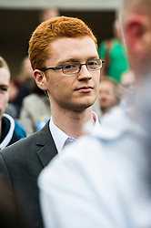 Pictured: Ross Greer MSP Greens<br /> Thousands of people gathered outside the Scottish Parliament to demonstrate for Scotland to remain part of EU. Young and old gathered in support of the European Movement Edinburgh  whoorganised the event inthe wake of the vote to leave<br /> <br /> <br /> Ger Harley | EEm 29 June 2016