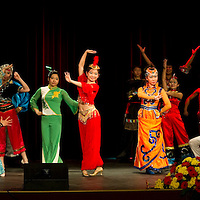 Peiyang Dance Ensemble performs Kong gong dance choreographed by Liu Rui during the lunar new year gala program organized by the Confucius Institute of ELTE University in Budapest, Hungary on February 16, 2011. ATTILA VOLGYI