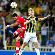 Fenerbahce's Dirk Kuyt (R) and Spartak Moscow's Marek Suchy during their UEFA Champions League Play-Offs, 2nd leg soccer match Fenerbahce between Spartak Moscow at Sukru Saracaoglu stadium in Istanbul Turkey on Wednesday 29 August 2012. Photo by TURKPIX