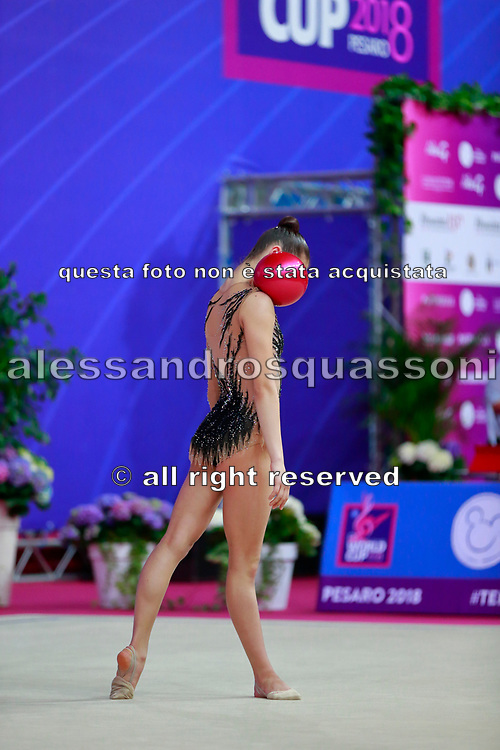 Pigniczki Fanni during the qualification of ball at the Pesaro World Cup 2018. She was born in Budapest Hungary in 2000.