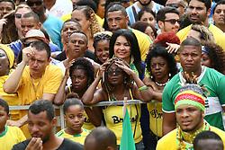 June 22, 2018 - Salvador, Brazil - SALVADOR, BA - 22.06.2018: TORCIDA DO BRASIL EM SALVADOR - Fans at the Olodum party in Pelourinho, in Salvador, Bahia, during a match between Brazil and Costa Rica, valid for the 2018 World Cup in Russia. (Credit Image: © Mauro Akin Nassor/Fotoarena via ZUMA Press)