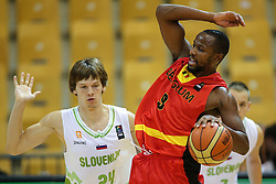 Jaka Klobucar of Slovenia and Jonathan Tabu of Belgium during friendly basketball match between National teams of Slovenia and Belgium at day 2 of Adecco Cup 2016, on August 6 in Zlatorog, Celje, Slovenia. Photo by Matic Klansek Velej / Sportida