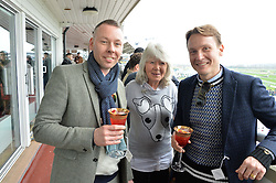 NEWBURY, ENGLAND 26TH NOVEMBER 2016: Left to right, Tony Kossykh-Bearman, Jilly Cooper and Alex Kossykh-Bearman at Hennessy Gold Cup meeting Newbury racecourse Newbury England. 26th November 2016. Photo by Dominic O'Neill