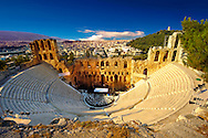 Odeon of Herodes Atticus, amphitheater on the slopes of the Acropolis, Athens Greece .<br /> <br /> If you prefer to buy from our ALAMY PHOTO LIBRARY  Collection visit : https://www.alamy.com/portfolio/paul-williams-funkystock/acropolis-athens.html<br /> <br /> Visit our ANCIENT WORLD PHOTO COLLECTIONS for more photos to download or buy as wall art prints https://funkystock.photoshelter.com/gallery-collection/Ancient-World-Art-Antiquities-Historic-Sites-Pictures-Images-of/C00006u26yqSkDOM