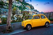 Yellow Fiat in Positano on Italy's Amalfi coast