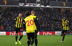 Watford's Jose Holebas celebrates scoring his side's second goal of the game during the Premier League match at Vicarage Road, Watford.