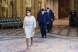 Priti Patel walks through the Central Lobby on the way to the House of Lords to listen to the Queen's Speech during the State Opening of Parliament in the House of Lords at the Palace of Westminster in London. Picture date: Tuesday May 11, 2021.