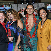 Nick Afoa is a New Zealand tenor of Lion King and Ana Lavekau at London Pacific Fashion Week at one Whitehall, London, UK. 25 Feb 2019.
