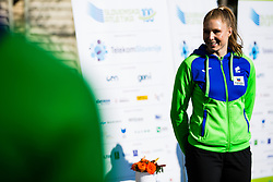 Maja Mihalinec reception and press conference on return of Slovenian Athletic National team from European Championships in Torun (POL), on March 8, 2021 in  Ljubljana, Slovenia.  Photo by Grega Valancic / Sportida