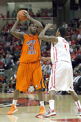 16 December 2012:  Tauron Bailey guarded by Tyler Brown during an NCAA men's basketball game between the Morgan State Bears and the Illinois State Redbirds (Missouri Valley Conference) in Redbird Arena, Normal IL