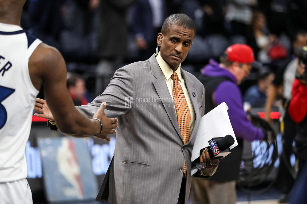 Feb 15, 2018; Minneapolis, MN, USA; TNT personality David Aldridge during a game between the Minnesota Timberwolves and Los Angeles Lakers at Target Center. Mandatory Credit: Brace Hemmelgarn-USA TODAY Sports