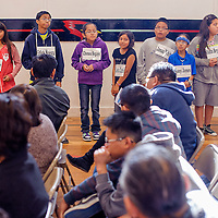 031314       Cable Hoover<br /> <br /> Contestants from area schools line up to take the stage during a spelling bee at St Michael Indian School Thursday.