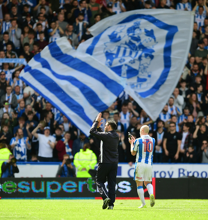 Huddersfield Town manager David Wagner applauds the crowd after the game<br /> <br /> Photographer Chris Vaughan/CameraSport<br /> <br /> The EFL Sky Bet Championship Play-Off Semi Final First Leg - Huddersfield Town v Sheffield Wednesday - Saturday 13th May 2017 - The John Smith's Stadium - Huddersfield<br /> <br /> World Copyright © 2017 CameraSport. All rights reserved. 43 Linden Ave. Countesthorpe. Leicester. England. LE8 5PG - Tel: +44 (0) 116 277 4147 - admin@camerasport.com - www.camerasport.com