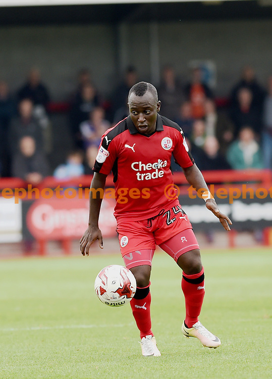 Kaby Djalo on the ball during the Sky Bet League 2 match between Crawley Town and Luton Town at the Checkatrade Stadium in Crawley. September 17, 2016.<br /> Simon  Dack / Telephoto Images<br /> +44 7967 642437
