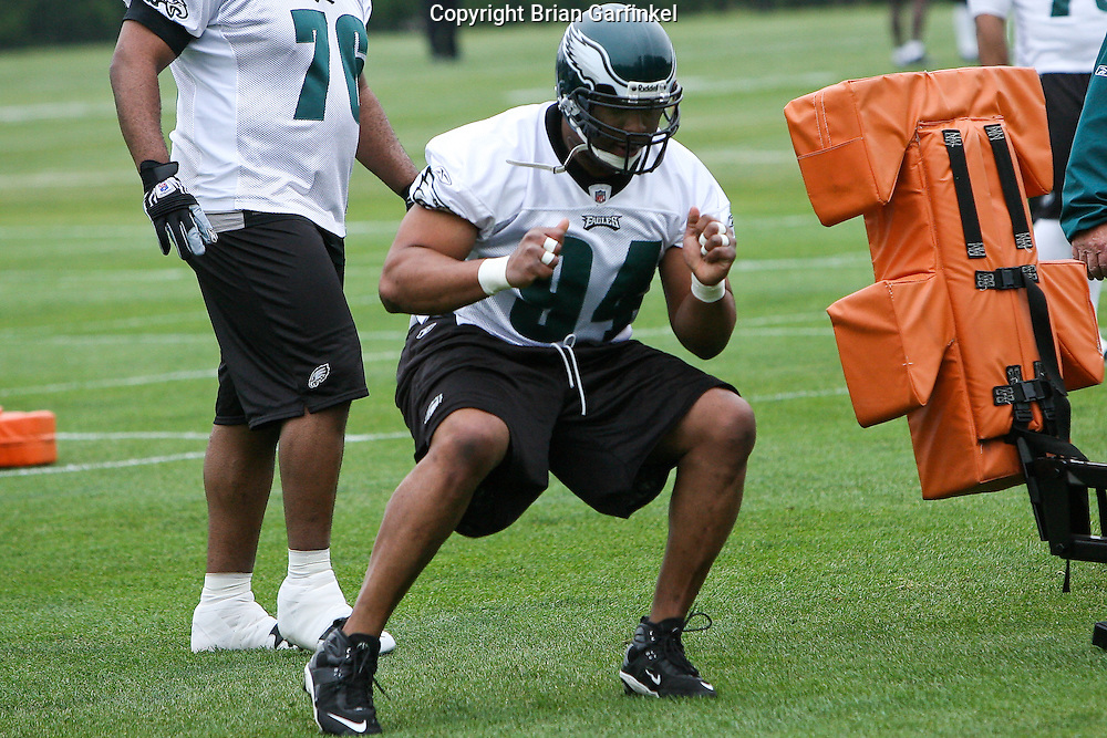 Philadelphia, PA - May 3rd 2008 - Defensive Tackle Montae Reagor of the Philadelphia Eagles completes a drill during the Eagle's Mini-Camp  practice session at the Novacare Complex in Philadelphia Pennsylvania.
