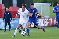 Samuele Ricci of Italy (7) battles with Nadav Aviv Niddam of Israel (15) during the UEFA European Under 17 Championship 2018 match between Israel and Italy at St George's Park National Football Centre, Burton-Upon-Trent, United Kingdom on 10 May 2018. Picture by Mick Haynes.