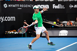 January 11, 2019 - Sydney, NSW, U.S. - SYDNEY, NSW - JANUARY 11: Diego Schwartzman (ARG) hits a forehand in his game against Andreas Seppi (ITA) at The Sydney International Tennis on January 11, 2018, at Sydney Olympic Park Tennis Centre in Homebush, Australia. (Photo by Speed Media/Icon Sportswire) (Credit Image: © Steven Markham/Icon SMI via ZUMA Press)