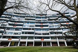 apartment building at Handelallee 3-9 by Walter Gropius at  Hansaviertel modernist housing estate in Berlin Germany