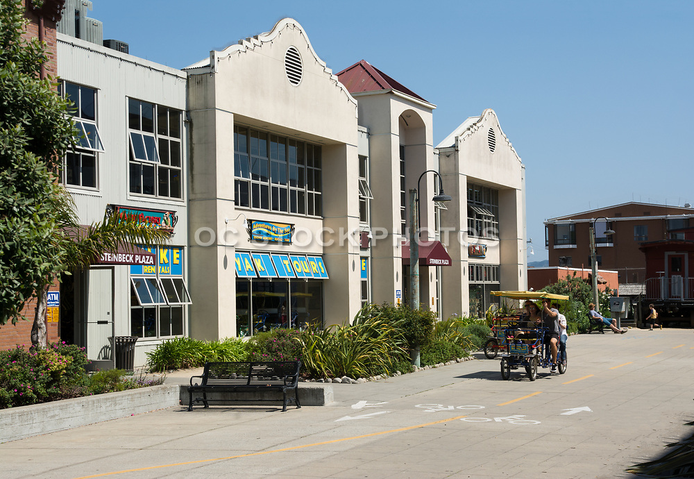 Tourists on Cannery Row at Steinbeck Plaza in Monterey California