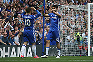Chelsea midfielder Eden Hazard (10) celebrates with Chelsea forward Diego Costa (19)  during the Premier League match between Chelsea and Sunderland at Stamford Bridge, London, England on 21 May 2017. Photo by John Potts.