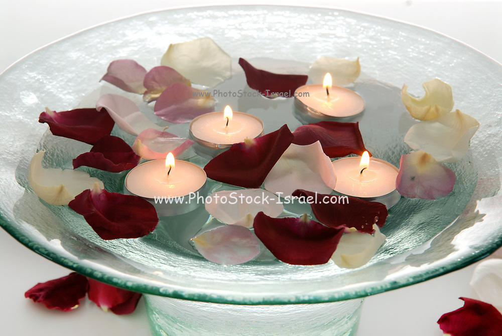 New-Age Treatment Rose petals and candles float in a bowl of water in a SPA for a tranquil and relaxing atmosphere