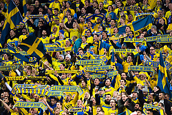 November 10, 2017 - Stockholm, Sverige - 171110 Svenska supportrar under fotbollsmatchen i VM-kvalets play-off mellan Sverige och Italien den 10 november 2017 i Stockholm  (Credit Image: © Ludvig Thunman/Bildbyran via ZUMA Wire)