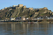 Oberes Mittelrheintal / Upper Middle Rhine Valley <br /> <br /> The Rhine Gorge is a popular name for the Upper Middle Rhine Valley, a 65 km section of the River Rhine between Koblenz and Bingen in Germany. It was added to the UNESCO list of World Heritage Sites in June 2002 for a unique combination of geological, historical, cultural and industrial reasons.<br /> <br /> The region's rocks were laid down in the Devonian period and are known as Rhenish Facies. This is a fossil-bearing sedimentary rock type consisting mainly of slate. The rocks underwent considerable folding during the Carboniferous period. The gorge was carved out during a much more recent uplift to leave the river contained within steep walls 200 m high, the most famous feature being the Loreley.<br /> <br /> On the photo: Fortress Ehrenbreitstein as seen from Koblenz.