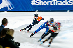 Daan Breeuwsma in action on the 5000 meter relay during ISU World Cup Finals Shorttrack 2020 on February 15, 2020 in Optisport Sportboulevard Dordrecht.