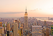 Aerial view at dusk of Midtown Manhattan and the Empire State Building, New York City.