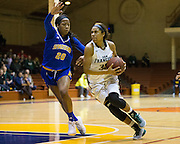 San Francisco Lady Dons guard Kalyn Simon (35) attacks the basket against the San Jose State Spartans at Kezar Pavilion in San Francisco, Calif., on December 6, 2016. (Stan Olszewski/Special to S.F. Examiner)