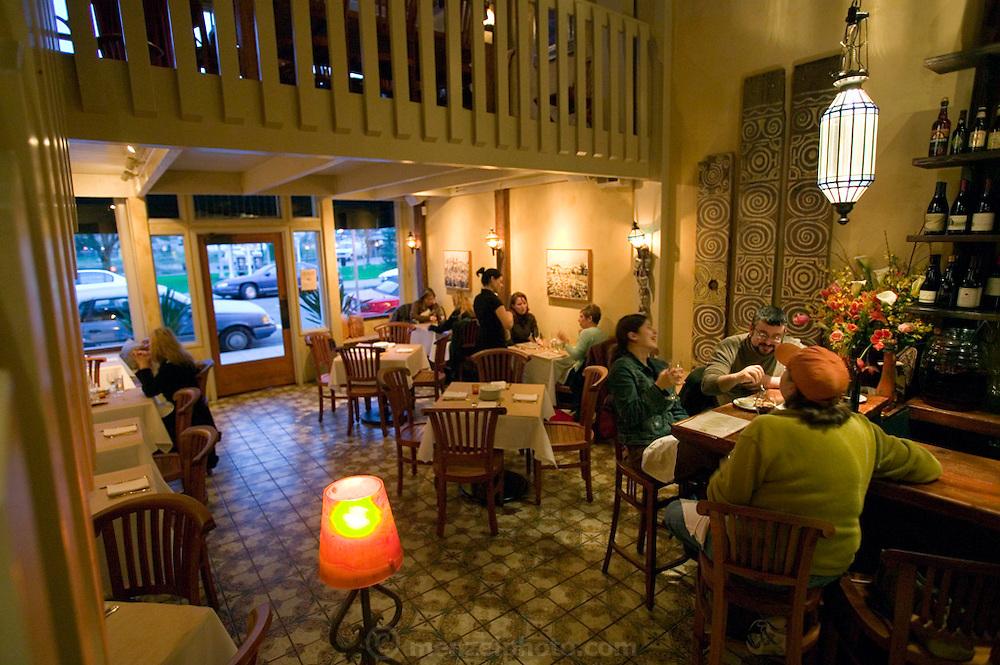 Zuzu Restaurant, Napa, California. Napa Valley. Zuzu serves tapas: small plates of food to accompany a drink.