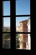 Look for city under clear sky through window, Ajaccio, Corsica, France