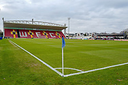 General view inside the Kingfield Stadium before the The FA Cup 3rd round match between Woking and Watford at the Kingfield Stadium, Woking, United Kingdom on 6 January 2019.